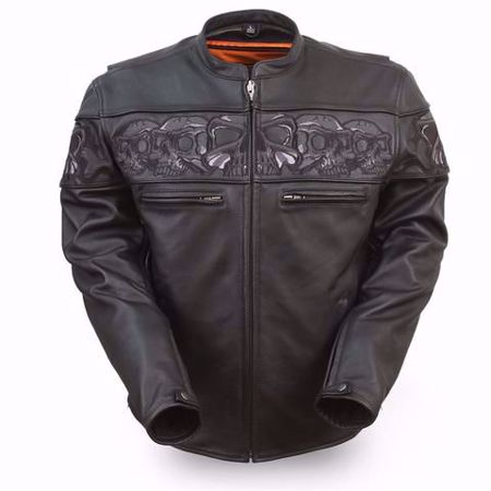 Picture of First Mfg. Men's Leather Jacket - Savage Skulls