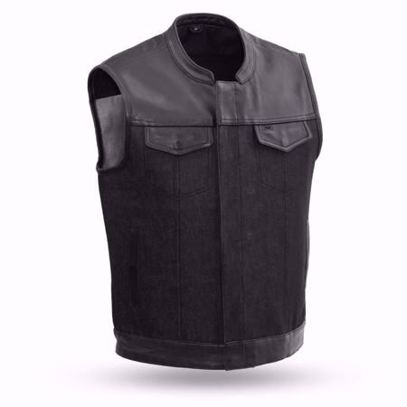 Picture of First Mfg. Men's Leather and Denim Vest - 49/51 Denim & Leather Combo