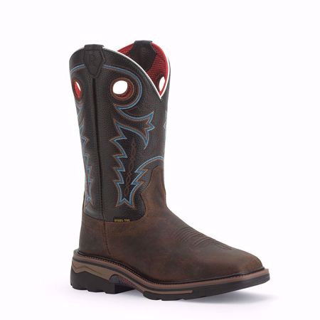 Picture of Coffee Distressed Buffalo / Midnight Black Cowhide Work boot